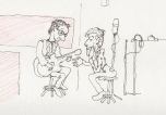 Scarabocchiume nelle lunghe ore di studio di registrazione a Firenze, nel 1988. Il producer Tim lavora con Bob Rodia sui riff delle canzoni. Schizzo in diretta a notte fonda. #LMT #linoeimistoterital #records #tape #theeighties #80s #bravimabasta #italianrock