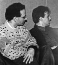 """Un gruppo di foto finora mai uscite dagli archivi dell'LMT Fancléb: ancora Ex-Caserme Rosse, dicembre 1990, stanchezze e allegrezze dei Nostri Teritalsi mentre producono """"Altri Nani"""". Qui vediamo il demoniaco duo Rodiatoce-Anka pronto a sentenziare severamente su ogni cosa. #LMT #linoeimistoterital #records #vinyle #theeighties #80s #altrinani #italianrock #Bologna"""