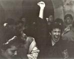 """Il Fancléb al calore bianco (e blu e rosso) in un'ora e venticinque di puro calore che rende quasi inutile il tipico parka dei Mod. """"Quadroimphamia"""": Lino e I Mistoterital ragazzi amModo! Pieve di Cento (Bo), 23 marzo 1985. — con Moe Herr, Lou Smile e Ella Brett"""