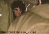 """L'incomparabile Guru Gianni """"Go"""" Fini occhieggia sardonico fra due parka. """"Quadroimphamia"""": Lino e I Mistoterital ragazzi amModo! Pieve di Cento (Bo), 23 marzo 1985."""