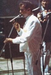 """Festa di presentazione per l'uscita di """"Bravi Ma Basta"""", deposito delle Locomotive FS, Bologna, 25/06/1988. Basta parlare, adesso suonare: intensitàNKA. #LMT #singer #Linoeimistoterital #BraviMaBasta #records #vinyle #Eighties #80s' #FS #trains #railways"""