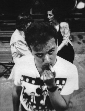 """Festa di presentazione per l'uscita di """"Bravi Ma Basta"""", deposito delle Locomotive FS, Bologna, 25/06/1988. Disturbing Anka. #LMT #Linoeimistoterital #BraviMaBasta #records #vinyle #Eighties #80s' #FS #trains #railways"""