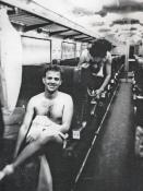 """Festa di presentazione per l'uscita di """"Bravi Ma Basta"""", deposito delle Locomotive FS, Bologna, 25/06/1988. Gli stripper Phil e Lauro si adongiano per lo spettacolo. #LMT #Linoeimistoterital #BraviMaBasta #records #vinyle #Eighties #80s' #FS #trains #railways"""